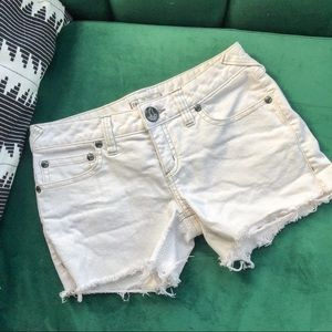 Free People White Jean Cutoff Shorts
